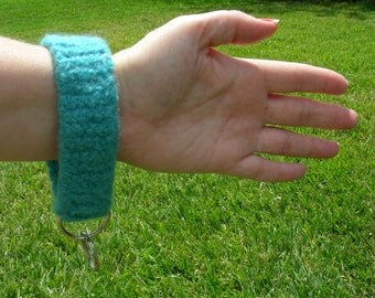 Key ring key chain key fob wristlet key loop blue aqua turquoise felted