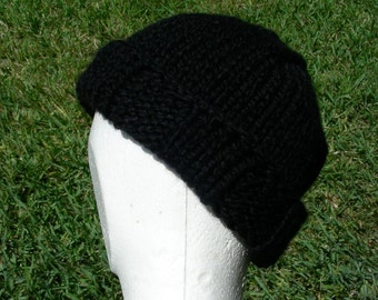 Stocking Cap, Watchcap, Longshoremans Hat, Black Mens Hand Knit