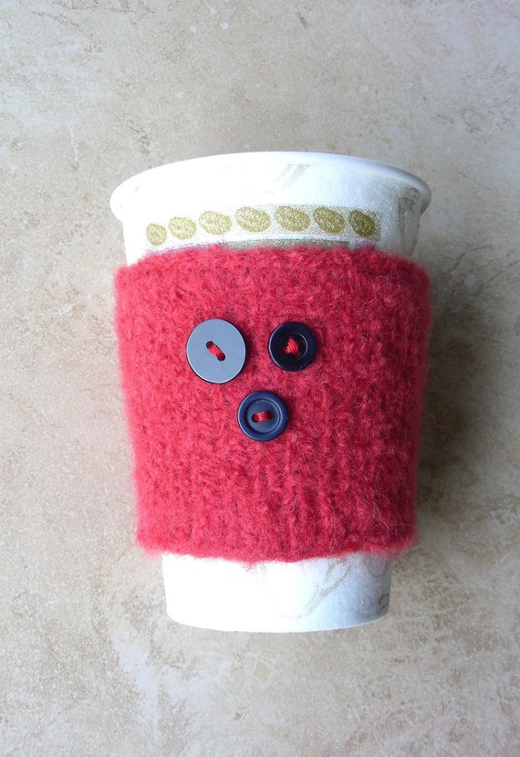 Coffee cup cozy coozie cozie cup sleeve cup sweater coral hand knit and felted