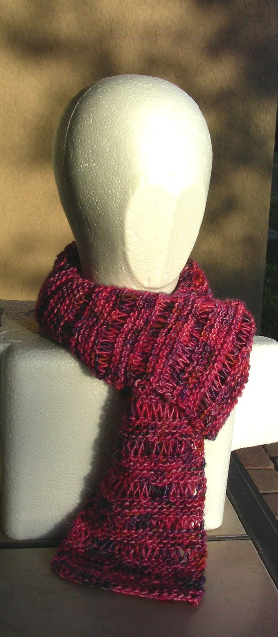 Hand Knit Scarf Silk Mohair pink purple hand dyed multicolor luxury