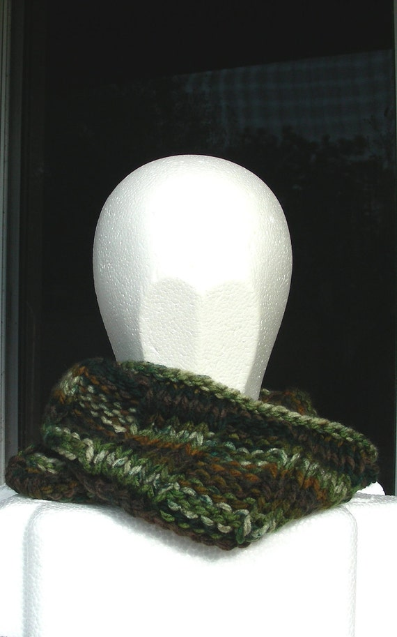 Cowl mobius scarf endless scarf infinity scarf green brown
