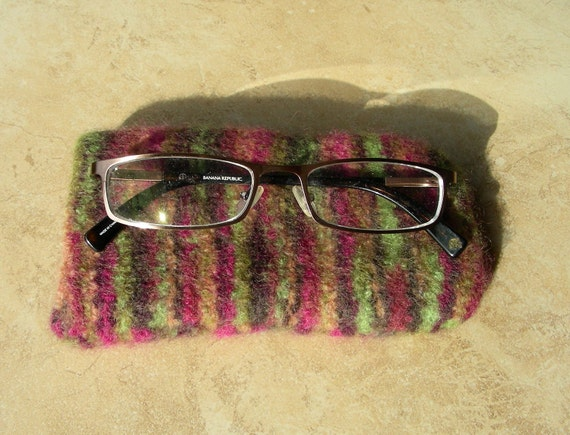 Eyeglass Case purple green brown variegated felted hand knit