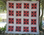 Vintage quilt, good shape, red & black - 1930s to 1940s