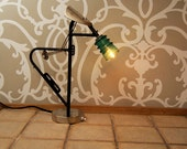 "Accent lamp  -- ""BcK"" -- Upcycled bike rack and glass insulator"
