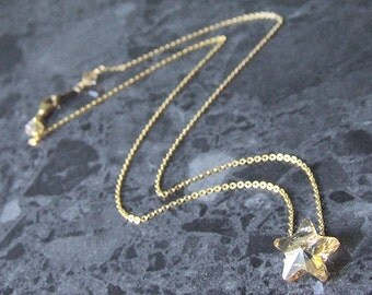 Gold Swarovski Star Necklace 14k Gold Filled Chain Golden Shadow Crystal Star Vegan Jewelry