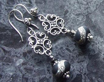 Black Lampwork Earrings Bali Sterling Silver SRA Etched Glass Beads Swarovski Vegan