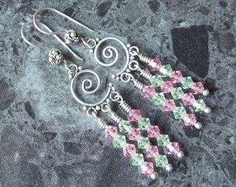 Swarovski Crystal Earrings Bali Sterling Silver Spiral Pink Green Chandelier Vegan