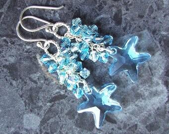 Swarovski Starfish Earrings Sterling Silver Aqua Crystal Cluster Vegan Jewelry