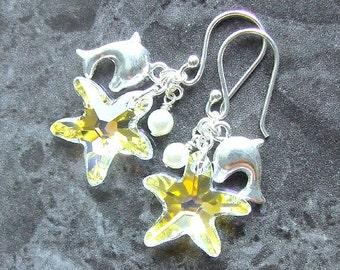 Swarovski Starfish Earrings Sterling Silver Dolphins Crystal AB Vegan Pearls