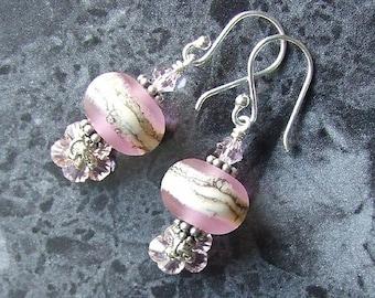 Lampwork Earrings Sterling Silver Swarovski Crystal Pink SRA Etched Glass Beads Vegan
