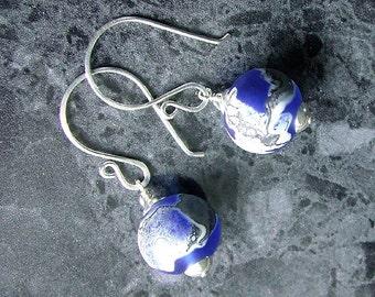 Lampwork Drop Earrings Sterling Silver SRA Bead Blue Etched Glass Vegan Jewelry