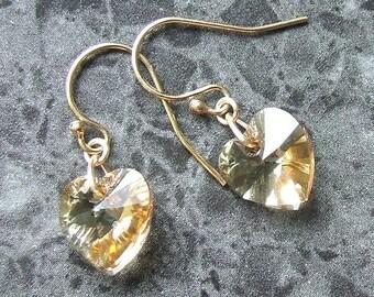 Swarovski Heart Drop Earrings 14k Gold Filled Golden Shadow Crystal Vegan Jewelry