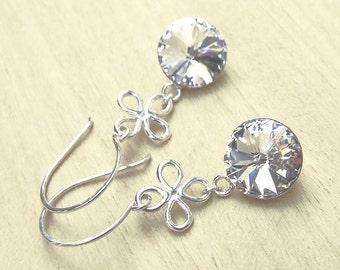 Swarovski Earrings Sterling Silver Crystal Rivoli Vegan Jewelry