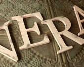 "Any 4 Distressed wooden letters painted 8""--Any word-Any color"