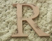 """Pink R 6"""" wooden letter nursery decor distressed pink R"""