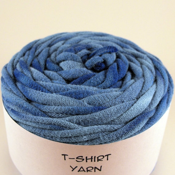 Cotton Tshirt Yarn, Baby Boy Blue Tie Dye, 26 yards, 6 wpi