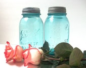 Two Aqua Blue Perfect Mason Ball Jars