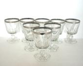Stemware Glasses Silver Trim Mad Men Formal Dinner