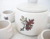 Rustic Autumn Bean Pot Crock with Oak Leaf Pattern projectt eclectict helloteam tbteam
