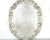 Large Heavy Tarnish Silver Platter Footed Tray