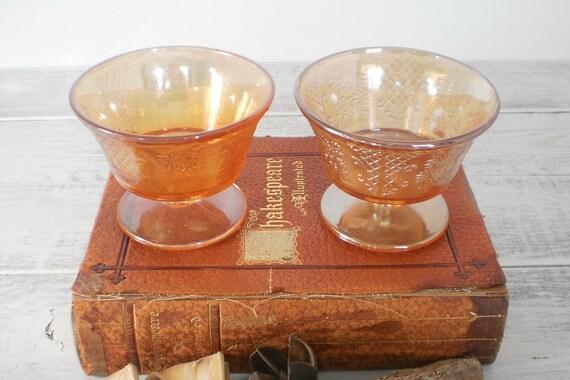 Carnival Glass Sherbet Cups Orange Under 25 Entertaining Christmas Gift
