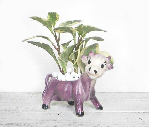Purple Cow Planter Spring Home Decor