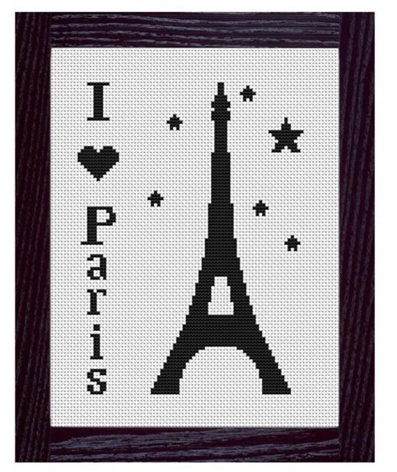 I Love Paris Cross Stitch Pattern PDF file