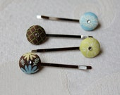 The 'Mommy Pin' Bobby Pin in Lime Green, Sky Blue, and Chocolate Brown color/flower/pattern Variations