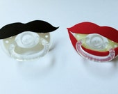 Pair of Novelty Red Lips and Black Mustache Foam, Binky Baby Pacifiers
