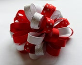 CLEARANCE Perfect Pom Pom Loop Hair Bow in Red, White, Polka Dots, Metallic Silver on a clip or elastic