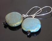 Deep Aquamarine Ceramic Beaded Earrings
