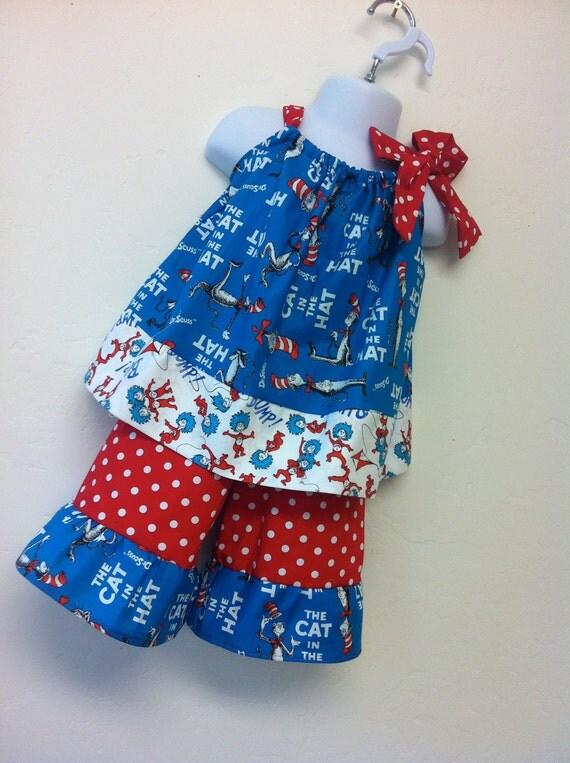 Dr. Seuss red polka dot ruffle pants or capris
