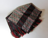 Handwoven Shawl/ Scarf/ Throw - Red, brown, gray, yellow
