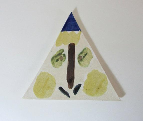 "Abstract ""Weird Face"" Decorative Ceramic Plaque/Trivet"