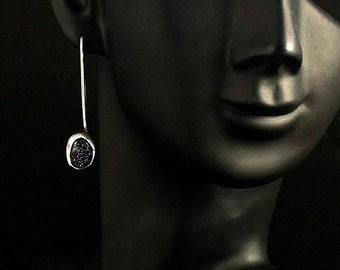 """Sterling Silver/ Dark Blue Goldstone Earrings -    """"READY TO SHIP"""""""