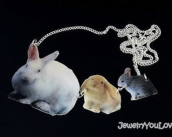 CLEARANCE!!!!  Mother and Babies Rabbits Necklace