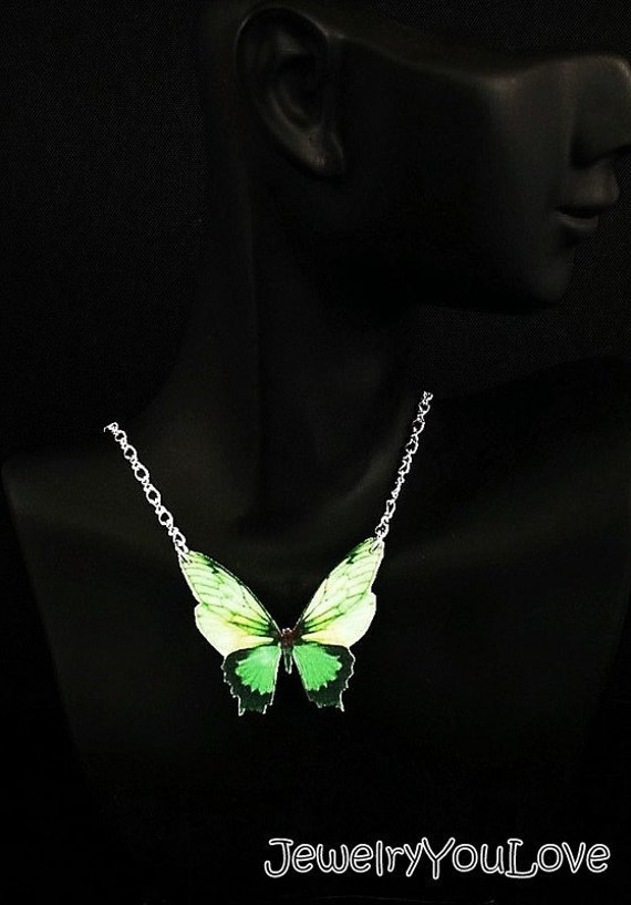CLEARANCE !!!  Small Green Butterfly Necklace
