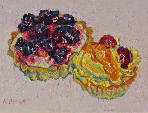 "Fruit cream tart dessert, original oil on canvas painting, 18 x 24 cm, 7"" x 9"" in."
