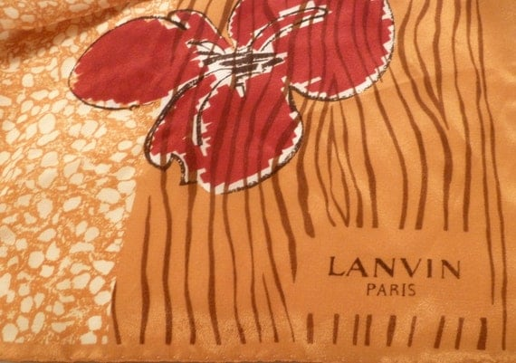 Vintage silk scarf - Designer Lanvin silk scarf in gold  bronze tones- Paris silk fashion neck scarf