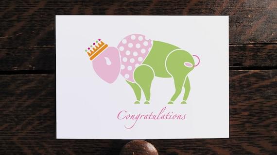 Baby Congratulations Card Princess Buffalo Sweet