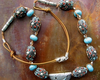 Primitive Tibetan Turquoise and Turquoise Howlite with Leather Necklace