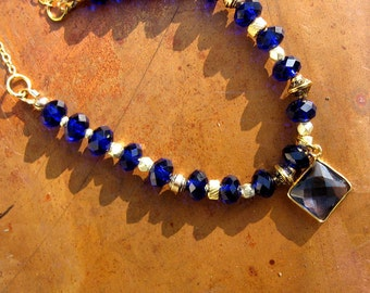 SAPPHIRE Blue Crystal Necklace with Gold Accents Vintage Style