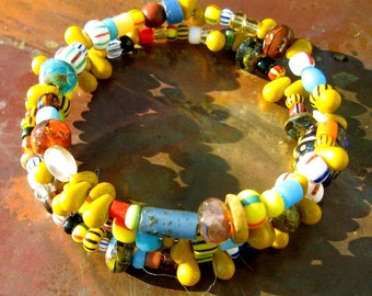 Primitive African Christmas Bead multi-layered Bracelet- Infinity Bracelet - Spiritual Bracelet - Ethnic beaded colorful braclet
