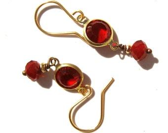 Red Earrings, Vintage Beaded Earrings, Modern Vintage Earrings, Ruby Earrings, January Birthstone Earrings, Gift for Her, Girlfriend  Gift