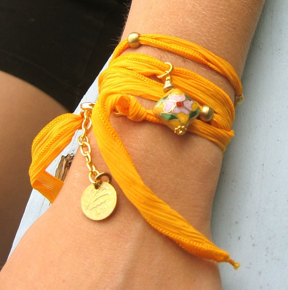 Golden Silk Wrap Bracelet