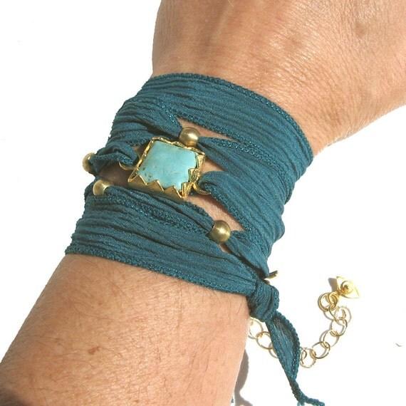 Turquoise Silk Wrap Bracelet - Yoga Inspired- Bohemian Teal wrap bracelet