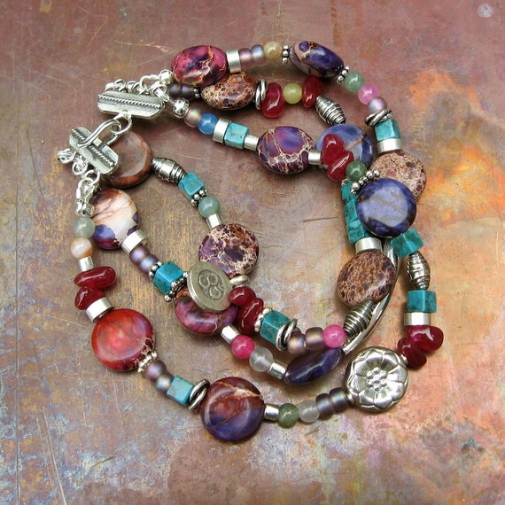 Bohemian Gemstone Bracelet- Silver Bracelet-Jasper and Turquoise