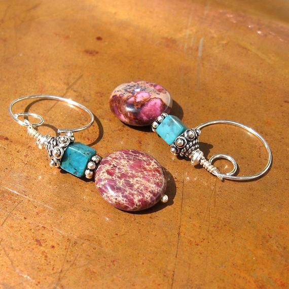 Purple Jasper Beaded Earrings - Turquoise and Silver Earrings - Gemstone- Boho