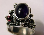 Art Nouveau One in a kind Amethyst Ring