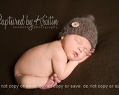 Newborn Hat Knitted Knot Hat with Wooden Button Photo Prop CHOICE OF COLOR